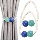 Keleily abrazaderas magnéticas para cortinas 2pcs tiebacks de cortina, cortina de ventana de madera clips de cortina para hogar, dormitorio, oficina, ventana de hotel decorativa, azul, verde