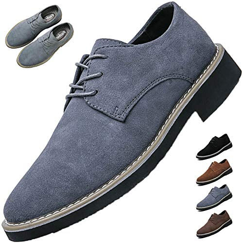 [VITIST] レースアップシューズ カジュアルシューズ メンズ スエードシューズ スウェード 靴 本革 オックスフォードシ ビジネスシューズ イギリス風 普段履き グレー 27.5cm