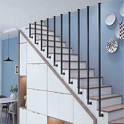 Barandillas de hardware Baranda de tubería de agua de desván 1PCS Barandilla de metal para escaleras, barandillas industriales negras mate para escaleras interiores, postes de soporte de seguridad p