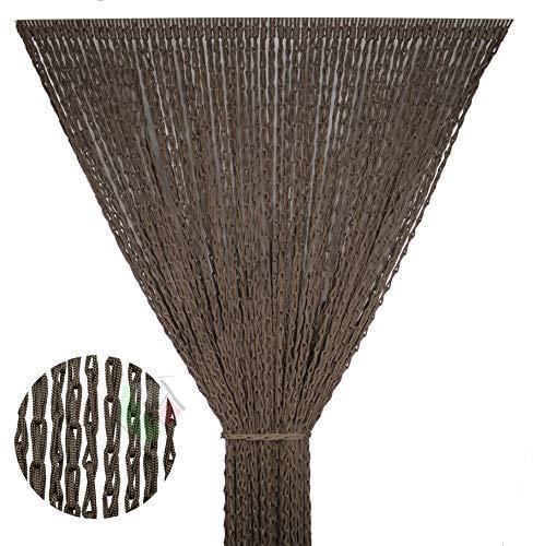 Tenda Antimosche per Porta Finestra Moschiera a Pannello Modello Lily con Corda Colorata Intrecciata a Catenella Misura 140 x 230 cm Colore Marrone
