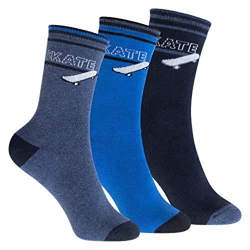 Footstar Kinder Frottee-Socken mit Motiv (3 Paar), Warme Socken mit Thermoeffekt - Skate 27-30