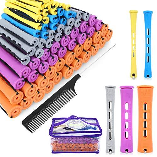 SPTHTHHPY Perm Rods y 100 piezas 5 tamaños Rodillos de pelo con cabello ondulado frío Rizador de pelo para mujer largo corto y herramientas de peinado (5 colores) (Largo)