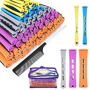SPTHTHHPY Perm Rods y 100 piezas de 5 tamaños de rodillos de pelo con barras de onda fría rizador de pelo para mujeres pelo largo corto DIY peluquería herramientas de peinado (5 colores)