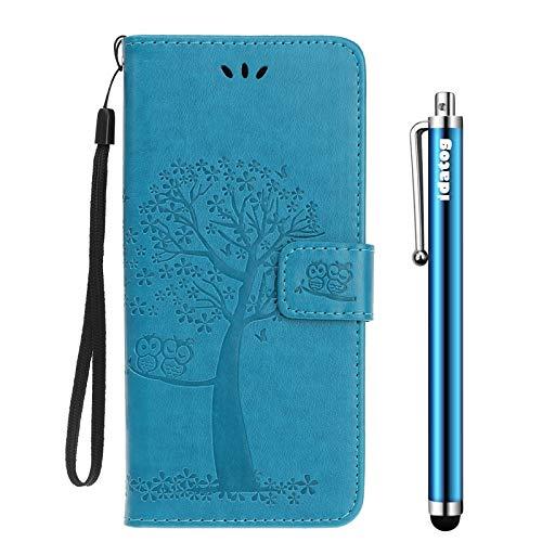 idatog Funda para Sony Xperia L1,[Diseño de Búho] Colorida PU Cuero Case Cuerpo Completo Carcasa Protectora Cartera Soporte Plegable Función Fundas Case Cover para Sony Xperia L1 (Azul)