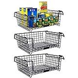 Jumiju XXL Stackable Wire Baskets, 3 Wire Basket Set. 16x12in Metal Basket for Under Shelf Basket, Pantry Baskets, Farmhouse Decor, Kitchen Storage Basket, Cabinet Organizer or Bathroom Organization