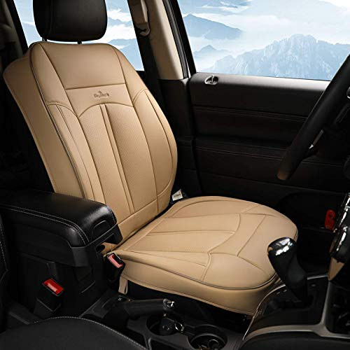 KINGLETING Car Seat Covers,Universal Fit Breathable PU Leather Non-Slip Seat Protector (1 Seat,Beige)