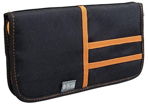 Dokumententasche mit RFID-Block, wasserabweisend, schützt Identität und Daten, Farbe orange, Trendyshop365