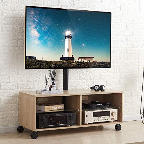 RFIVER Universal Mobile TV Ständer 110 cm Breite 32-65 Zoll mit Rollen Rollbar Tisch Fernsehschrank Fernsehtisch Wagen höhenverstellbar schwenkbar in Eiche Möbel TW5001