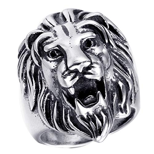 SAINTHERO Men's Cool Stainless Steel Roaring Lion Head Rings Gothic Punk Rock Celtic Animal Biker Ring Engraved Carved Silver Black Size 11