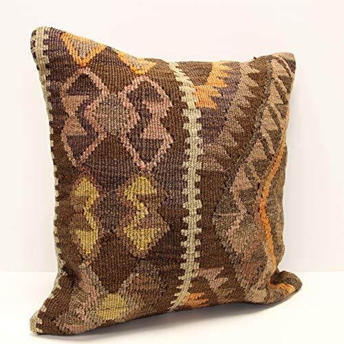 Couch Accent Pillow 20x20 Turkish Kilim Pillow Handwoven Kilim Lumbar Vintage Kilim Pillow Cushion Cover Throw Pillow Home Decor