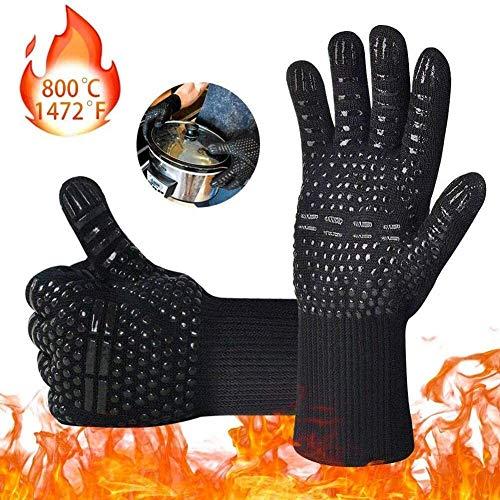 VieVogue Oven Handschoenen 932°F Hittebestendige Handschoenen, Cut-Resistant Grill Handschoenen, Anti-slip Siliconen BBQ Handschoenen, Keuken Safe Kookhandschoenen voor Mannen, Oven Mitten, Roker, Barbecue, Grillen(Zwart)