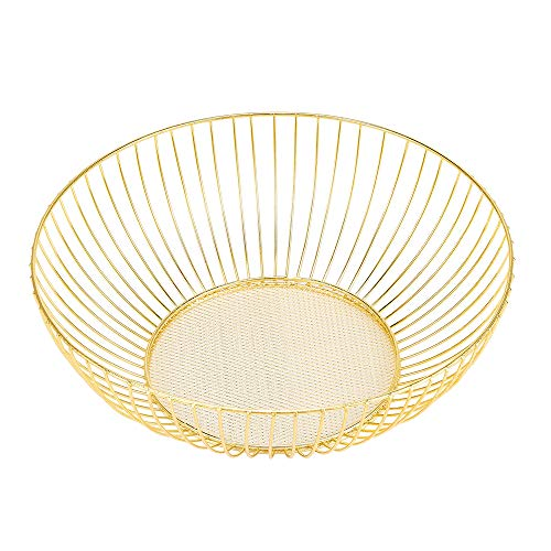 Mental Wire Fruit Basket Fruit Bowl, Large Round Bread Storage Bowl Stand (Gold)
