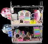 MAQRLT Cages de Hamster avec Accessoires, Grandes tiroir Carte Cage de Hamster Pas Cher Grande Coque en Acrylique Transparent Vide Cage Super Grande Villa Facile à Nettoyer