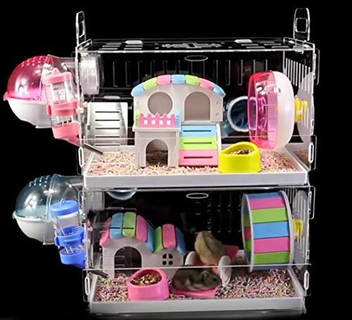MAQRLT Hamster Käfige Mit Zubehör, Plus Karte Schublade Hamsterkäfig Billig Große Acrylschale Transparent Leeren Käfig Super Große Villa Leicht Zu Reinigen