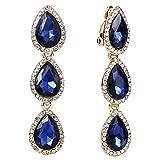 EleQueen Women's Gold-tone Austrian Crystal Teardrop Pear Shape 2.4 Inch Long Clip-on Dangle Earrings Sapphire Color