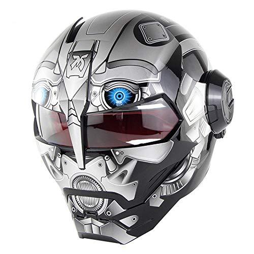 CFYBAO Personnalité rétro Casque créatif Iron Man Transformers Plein Visage Casque Vintage Harley dévoilé Casque,F,XL