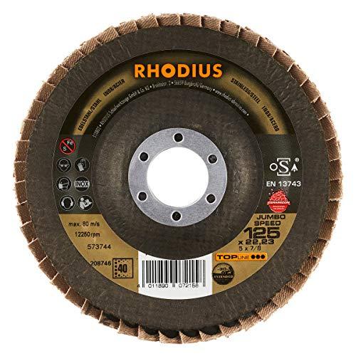 RHODIUS INOX Fächerschleifscheibe JUMBO SPEED EXTENDED Made in Germany Ø 125 mm K40 für Winkelschleifer 5 Stück