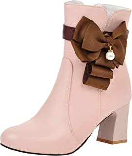 VulusValas Women Block Heel Ankle Boots Zip