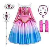 Princess Dress Aurora Costume Birthday Party Halloween Dress Up 4T 5T(D62,120CM)