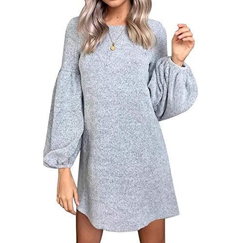 Decha Damen Pullover Kleid Winter Herbst Langarm Rundhals A-Linie Knielang Pullikleider Sweatshirt Minikleid Strickkleider(L,Grau)