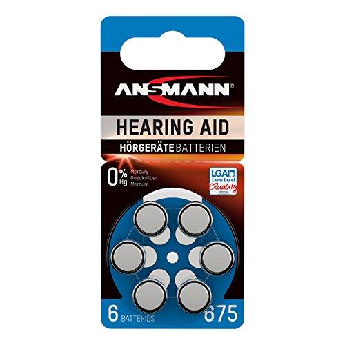 Ansmann 5013253- Pila para audífono 675 zinc aire, 1,45V PR44 AZA675, color azul