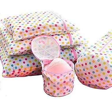 Mr.Pro 5 Set Laundry Wash Bags Bra Wash Bag Underwear Lingerie Sock Mesh Net Wash Basket Bag Polka Dot, 3 Laundry Wash Bags and 2 Bra Wash Bags