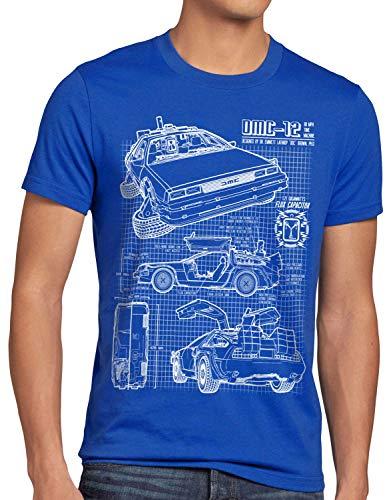 style3 DMC-12 Blaupause T-shirt pour homme Motif voiture des années 80 Bleu - Bleu - 4XL