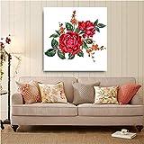 Art impression sur toile 1 pièces Bouquet de fleurs de rose rouge aquarelle photos pour salon HD imprimer dessins Home Decor affiches murales-60 * 90cm