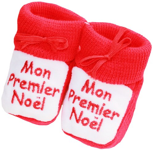"""Chaussons bébé brodés """"Mon premier noël"""" King bear rouge/blanc 0/3mois"""