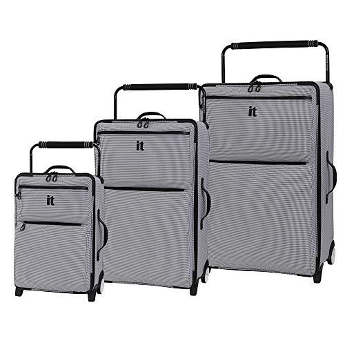 it luggage World's Lightest Urbane 2 Wheel Super Lightweight Suitcase, 75 cm, 72 L, Black/ White Two Tone