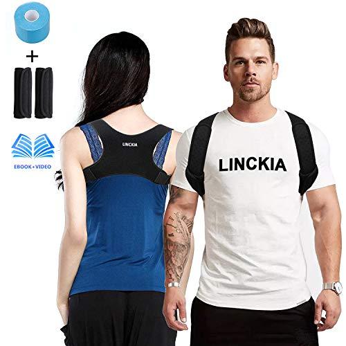 LINCKIA Geradehalter zur Haltungskorrektur Haltungstrainer- Rückenstabilisator Set mit Kinesiologie Tape, Schultergurt | Posture Corrector | Rückentrainer | Geradehalter Rücken für Damen Herren