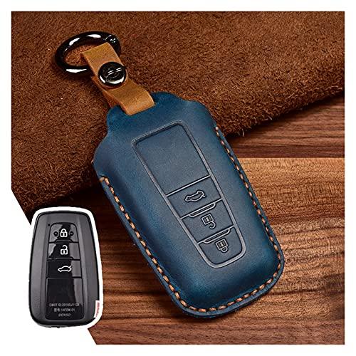 LIFMAGIC 가죽 자동차 키 케이스 도요타 캠리 CHR 프리우스 COROLLA RAV4 프라도 2017 2018 원격 열쇠가없는 COVERKEYCHAIN(색상 이름:3 버튼 블루)