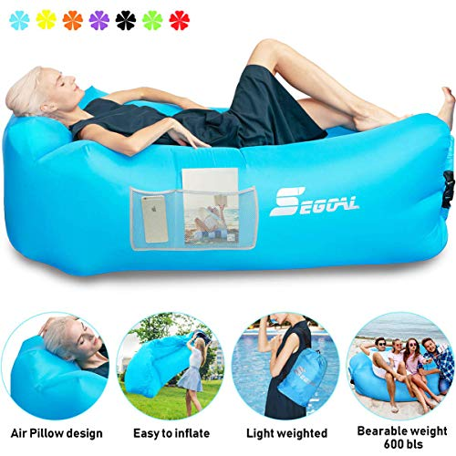 Inflatable Lounger Air Sofa Pouch Inflatable Couch Air Chair Hammock with Pillow Portable Waterproof Anti-Air Leaking for Indoor/Outdoor Camping Hiking Travel Pool Beach Picnic Backyard Lakeside