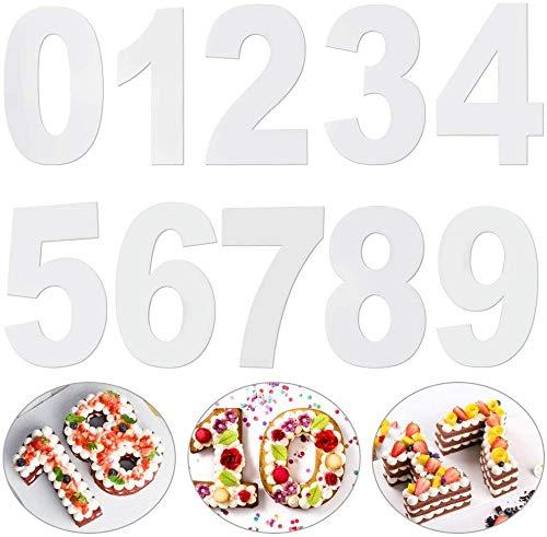 Molde Grande para Tartas,9 Piezas 12 Inch Moldes Número para Tarta Cumpleaños,Molde para Tarta de Número con Números 0 – 8 Decoración de Tartas,Aniversario,Fiestas
