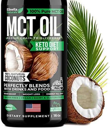 MCT Oil for Keto Diet Support - Made in USA - Organic MCT Oil from Pure Coconuts for Keto Shake, Coffee, Smoothies & Dressing - Keto Oil for Brain Boost, Weight Loss & Energy Boost - Perfect Keto MCT