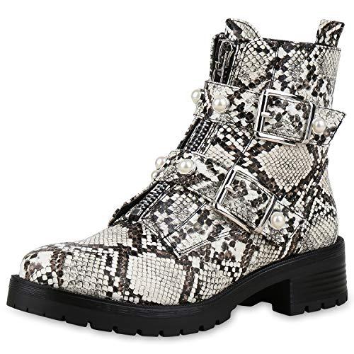 SCARPE VITA Damen Stiefeletten Biker Boots Schnallen Leder-Optik Schuhe Bikerstiefel Booties Zierperlen Zipper 174823 Creme Snake 39