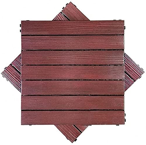 Baldosas de madera Terraza Baldosas Azulejos de suelo entrelazados para patio, para exteriores, bricolaje, empalmados o adoquines, impermeables, anticorrosivos, baldosas para exteriores, 2 baldosas de