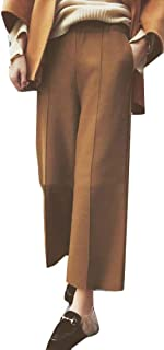 Women Fall Winter Thicken Elastic Waist Stretchy Wide Leg Ankle Pants