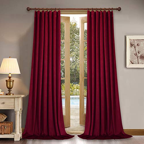 StangH Red Velvet Curtains for Movie Theatre - Super Soft Velvet Woven Room Darkening Curtains 84 inch Length, Sound Lower Privacy Panels for Master Bedroom, W52 x L84, 2 Panels