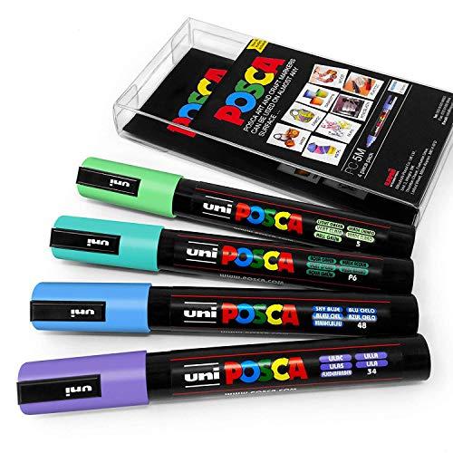 Uni Posca - PC-5M Arte Pintura Rotuladores - Juego de 4 - en Plástico Cartera - Cool Pastel