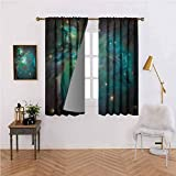 Space Rod Pocket Window Curtain Panels Majestic Orion Nebula Dust Cloud Celestial Energy Plasma Astronomical Object Picture for Bedroom/Living Room Teal Green 72x63 inch