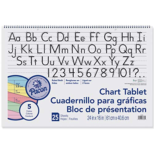 Pacon Chart Tablet, 24 x 16 Inches, 1-1/2 Inch Ruled Long Way, 25 Sheets - 384810