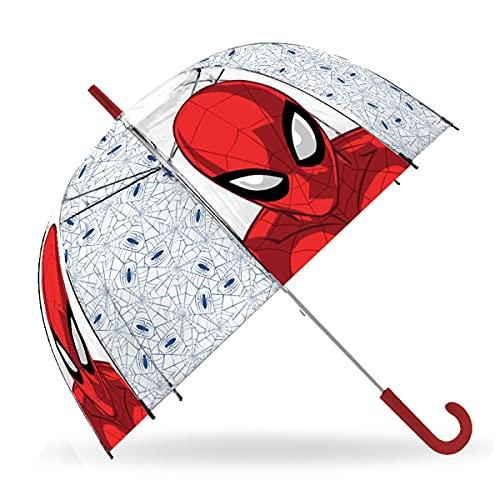 SKYLINE Paraguas para Niños, Spiderman, Campana Transparente, Paraguas Infantil, Poliéster, 72cm diámetro, Vuelta al Cole, Ideal para Niños