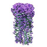 Künstlich Hängende Blumen Sannysis Violette Blumen-Wand-Glyzinien-Korb-hängende Girlande-Rebe blüht Gefälschte Silk Orchidee Bunte Kunstblumen Blau