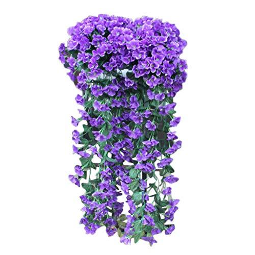 Transwen Künstliche Hängepflanzen, Violette Blumen Balkonpflanzen Kunstpflanzen Hängend Blumen für Balkon Wand Hochzeit Hause Garten Dekoration (Blau)