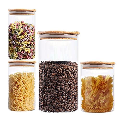 Vivilineneu Vorratsdosen Set mit Deckel 4-teilig Luftdicht Vorratsgläser Glasdosen Runddose Glasbehälter für Lebensmittel (1300ml+550ml+350ml*2)