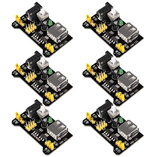 ALMOCN 6PCS 3.3V 5V MB102 Breadboard Power Supply Module DC 6.5-12V USB for Arduino Solderless Bread Board