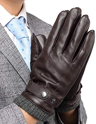 Winter Leather Gloves for Men, with 3M Thinsulate Insulation Full-Hand Touchscreen Dress...