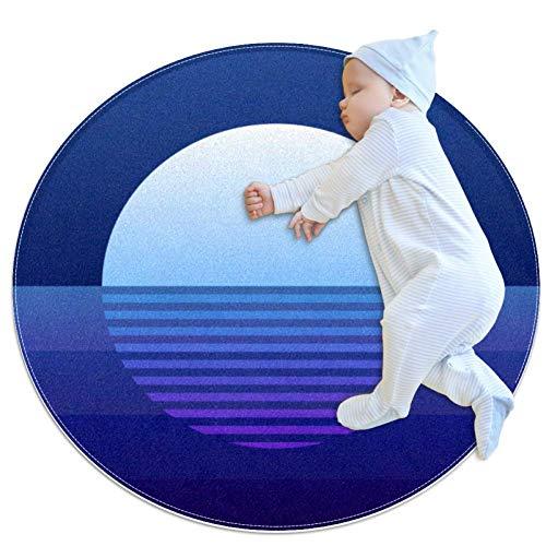 rogueDIV Blue Moon Rays Moonlight Circular Baby Play Mat Crawling Mat Sleeping Mat Cushion Non Slip Mat Children's Toddler Bedroom