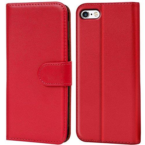 Verco iPhone 6s Plus Hülle, Handyhülle für Apple iPhone 6 Plus > 6s Plus Tasche PU Leder Flip Hülle Brieftasche - Rot